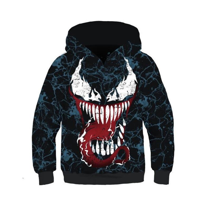 2019 3D Print Clothes Boys Venom Cosplay Pullover Sweatshirts Child Superhero Hoodies Kids Hip Hop Tops Sweatshirts for Boys