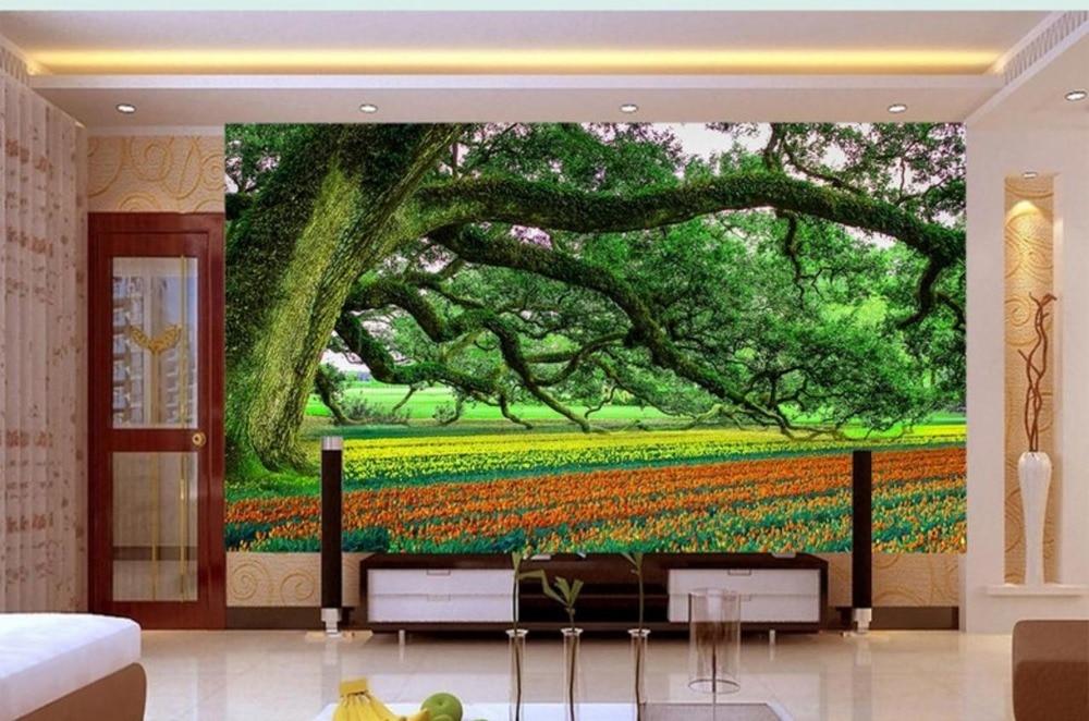 Us 1161 57 Offgratis Schip 3d Wallpapers Tuin Chinese Stijl Behang Grote Boom Tulp Bloemen Wallpapers 3d Woonkamer Slaapkamer Sofa Achtergrond In