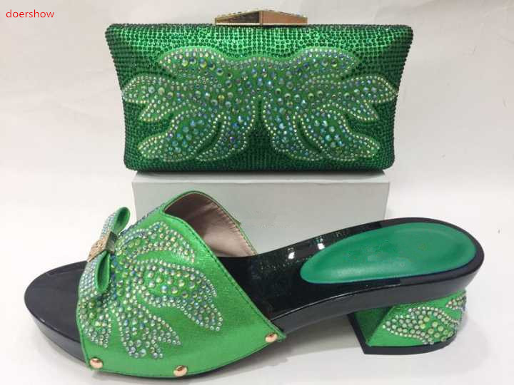 doershow Matching Shoes and Bag Set Decorated with Rhinestone Nigerian Wedding Shoes and Bag Set for Women Italy  KH1-18 doershow african shoes and bags fashion italian matching shoes and bag set nigerian high heels for wedding dress puw1 19