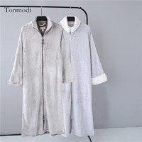 Camicia da notte per le donne Autunno e Sonno invernale corallo del panno morbido termico della chiusura lampo lunga veste Le Donne salotto più il formato XL