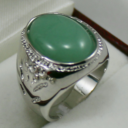 Noble13X18MM Light Green Dong Ling Jade Jewelry Mens Ringin Rings