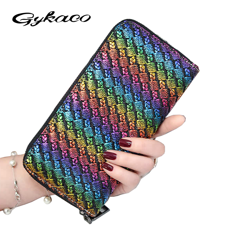 Gykaeo Big Capacity Women Wallets Ladies Clutch Female Leather Bags ID Card Holders Cell Phone Cash Wallet Ladies Purses Bolsas women wallet women s purses genuine leather clutch with large capacity for credit card cash fashion design female purses