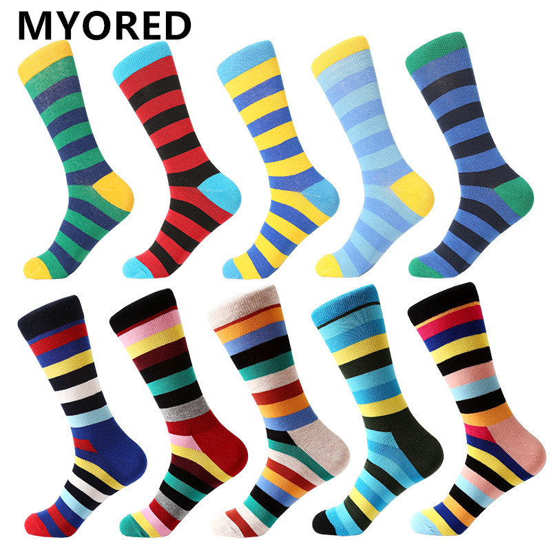 MYORED  Men's Socks Gift Popular Fruit Patterns Combed Cotton Crew Socks For Men Causal Novelty Gifts Socks