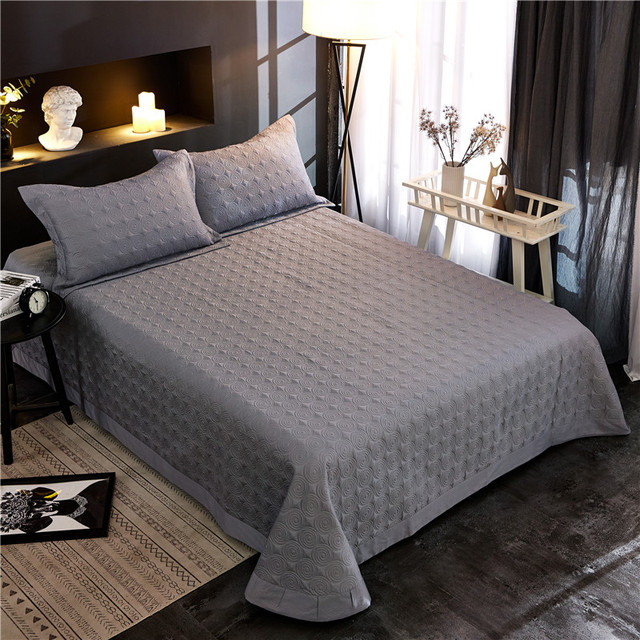 Premium 3-piece Solid Color Quilted Bedspread Coverlet Set Ultra Soft 100%Cotton Bed Comforter Bedspread For 1.5M/1.8M/2M Bed