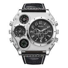 Oulm 1349 Мужские двойные движения Спортивные военные часы с компасом и термометром украшения кожаный ремешок кварцевые наручные часы