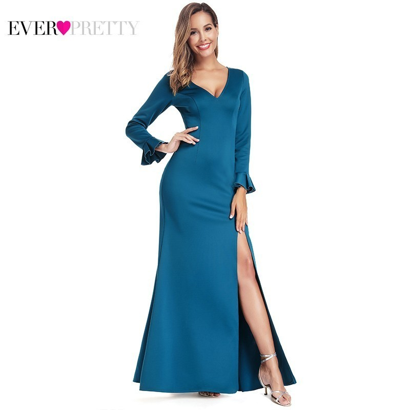 Robe De Soiree Ever Pretty Sexy Evening Dresses Long V-Neck Split Teal Formal Little Mermaid Dresses Elegant Party Gowns 2020