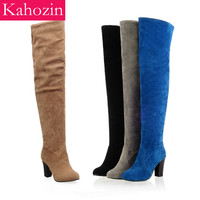 Kahozin Over The Knee High Boots winter high heel 8CM faux suede slim Rough heel slip on matching blue shoes and bags Size 34 45
