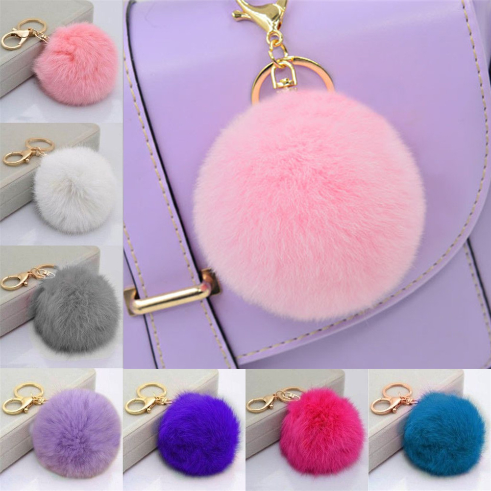 Fluffy Rabbit Fur Pompom Keychain Women Bag Charm Real Natural Fur Balls  Fur Pom Poms Key Chain  Wholesales New Fashion