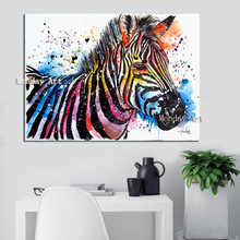 High Quality Artist Hand-painted Large Canvas colorful Animal Oil Painting on Canvas Modern Animal Acrylic zebra oil Paintings yhhp hand painted animal canvas oil painting hair donkey