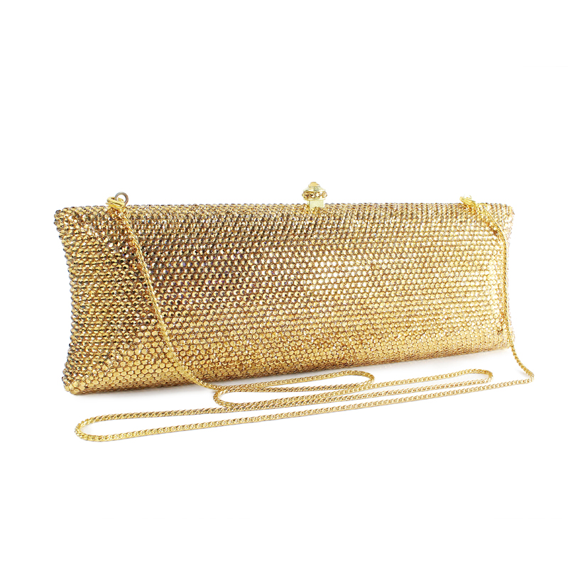 2017 NEW Women Clutch Bags Ladies Gold Evening Bag Female Crystal Party Purses Wedding Clutches(B1008-SG)