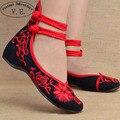 Mujeres de la manera Zapatos Viejos Beijing zapatos de Mary Jane Zapatos de Los Planos Ocasionales Mujer Bailarina de Paño Bordado Chino Zapatos Más El Tamaño 41