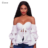 Sexy Off The Shoudler Ruffle Blouse Shirt Black White Backless Bow Tie Front Long Sleeve Ladies