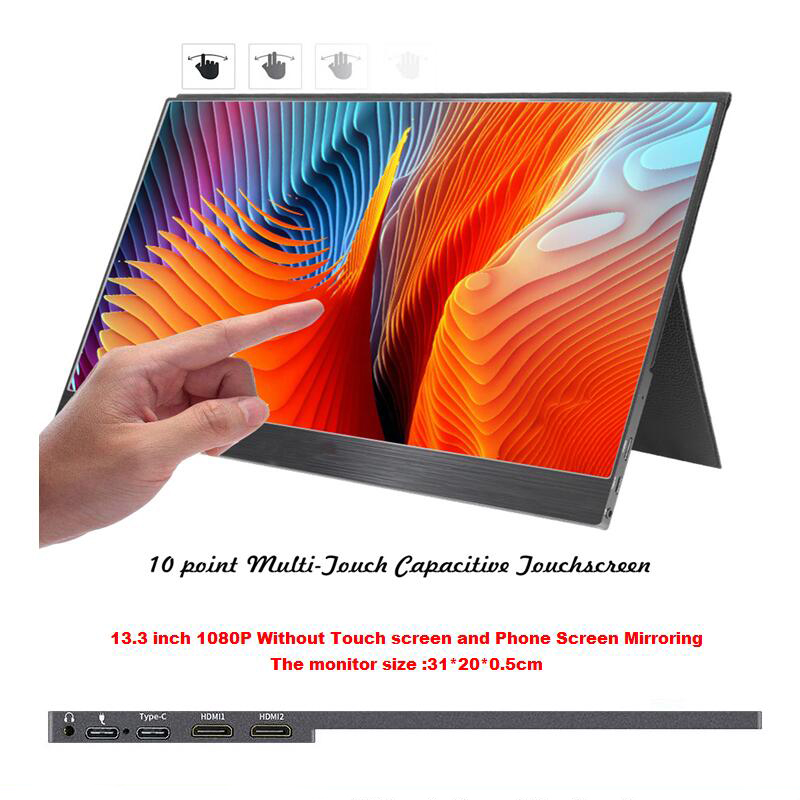 13.3 Inch 1080P With Type-C And Touch Screen Mirrorin Portable LCD Monitor HDR Ultra Slim Display For Mac/PC/smart Phone/PS4