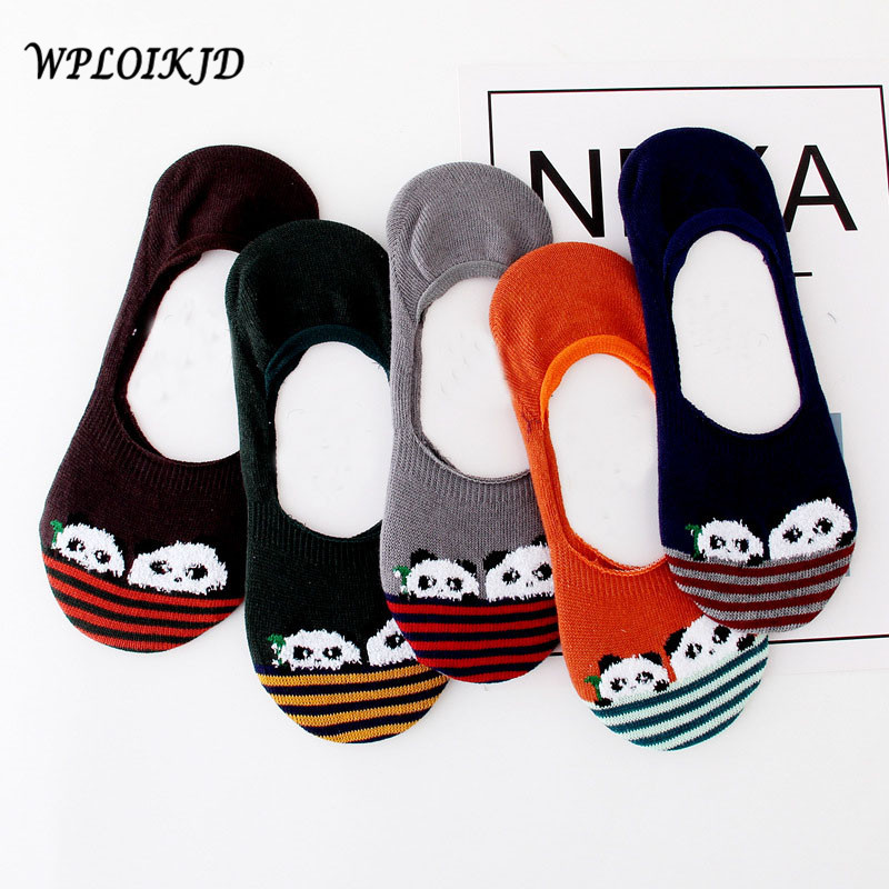[WPLOIKJD]Fashion Lovely Ankel Cotton Antiskid Meias Sokken Socks Lovely Cartoon Candy Color Striped Pandan Women Ship Socks ...