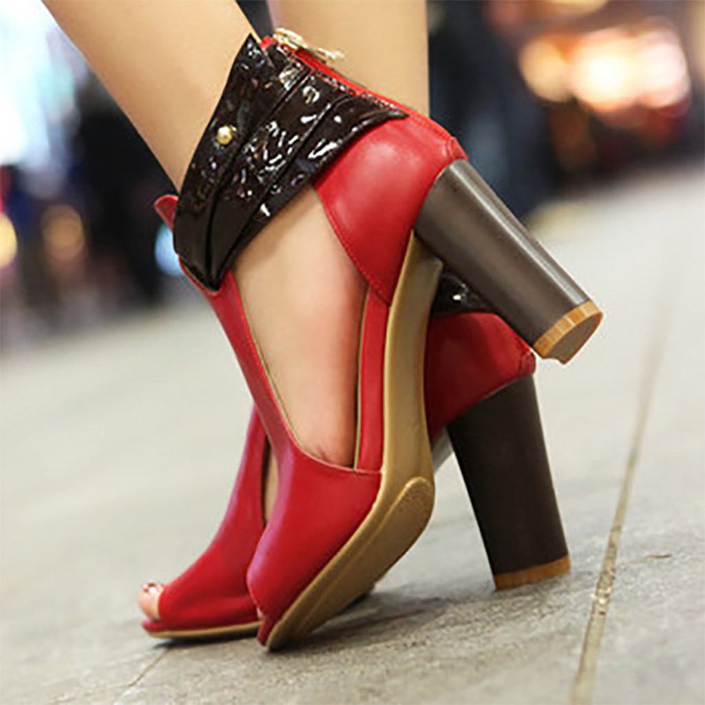 Women's Pumps Pu Leather Fish Mouth High Heel Zipper Sandals Leather Short Boots Single Shoes