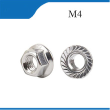 Free shipping 50pcs/lot Metric thread DIN6923 M4 304 Stainless Steel Hex Flange Nuts m4  nuts,nut