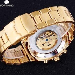 Image 3 - FORSINING Reloj Automático para hombre, relojes mecánicos de esqueleto de lujo, de acero inoxidable dorado, Masculino