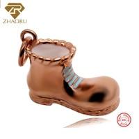 Zhaoru 100% 925 Sterling Silver Pendant Women Trendy 925 Silver Charm Bracelet Rose Gold Fine Leather shoes Charm