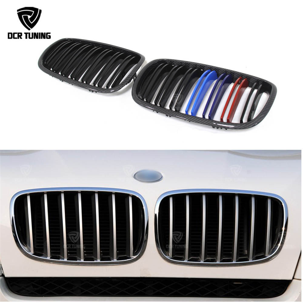 Front Grille For BMW X Series X5 E70 X6 E71 Carbon Fiber Front Grille Gloss Black