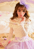 Princess sweet lolita blouse Candy rain new Japanese style Cute collar flowers patchwork Long sleeve lace blouse C16AB5636