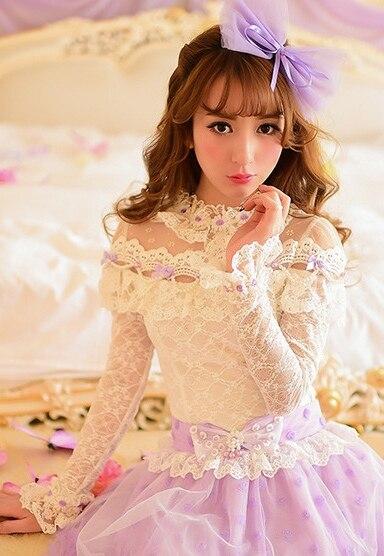 Princesse douce lolita blouse bonbons pluie nouveau style japonais mignon col fleurs patchwork manches longues dentelle blouse C16AB5636