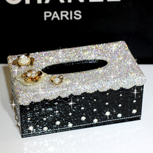 Fashion diamond flower tissue box Tissue case Household crystals paper box Car tissue holders Home decorations