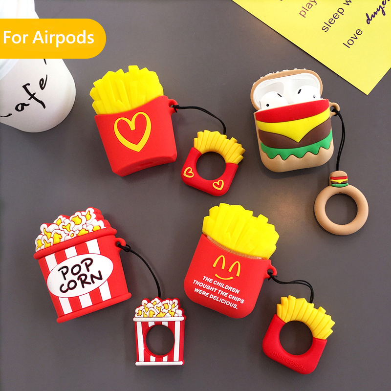 For AirPods Case 3D Food Cartoon Pattern Protective Cover Bluetooth Wireless Earphone Case For Air Pods Accessories Charging Box
