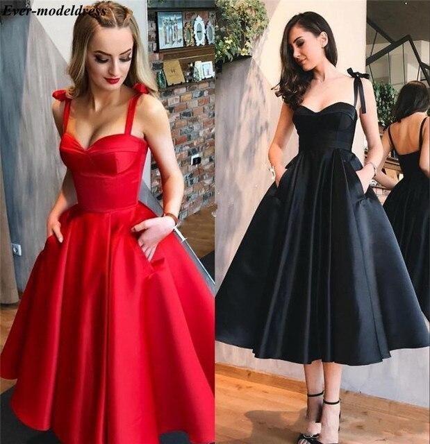 Tea Length Prom Dresses Short With Pockets Sweetheart Straps Zipper Satin A-Line Simple Evening Party Gowns Vestidos De Festa  4