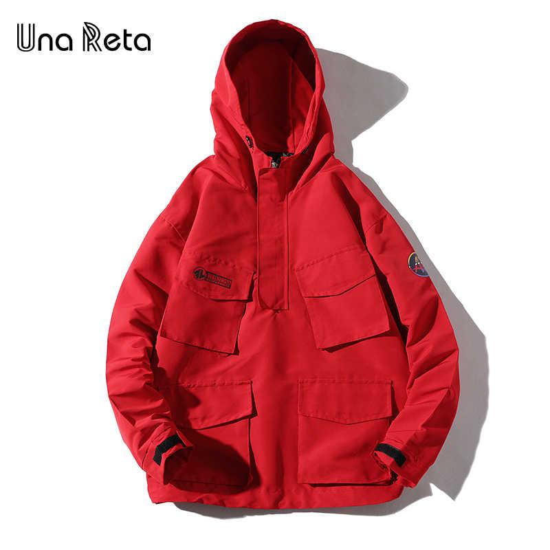 Una Reta Hip Hop chaqueta hombres 2018 nueva chaqueta de Color de retazos chándal Casual Streetwear abrigo de manga larga hombres rompevientos