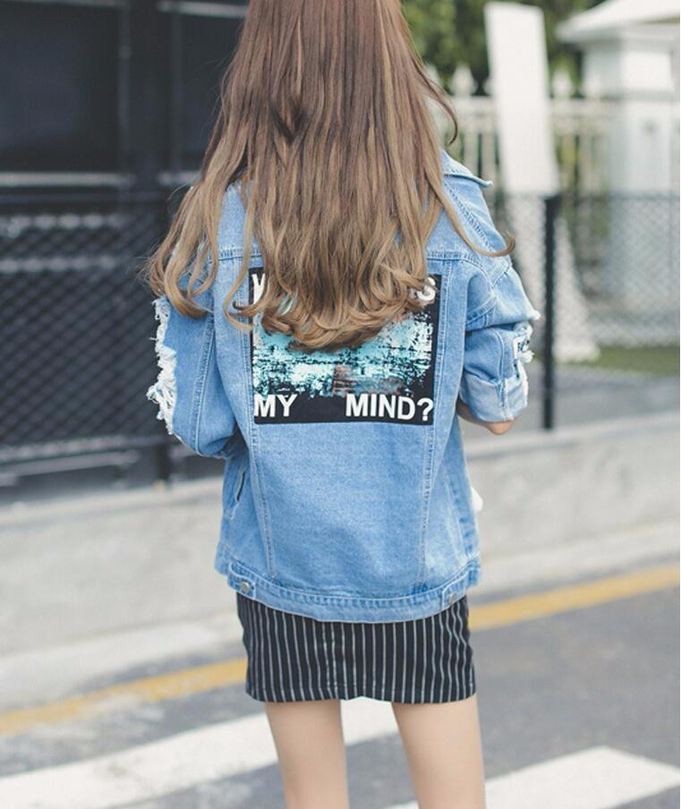Where is my mind? Korea Kpop retro frayed embroidery letter patch women's denim bomber jacket Ripped Distressed Blue Coat Female 8