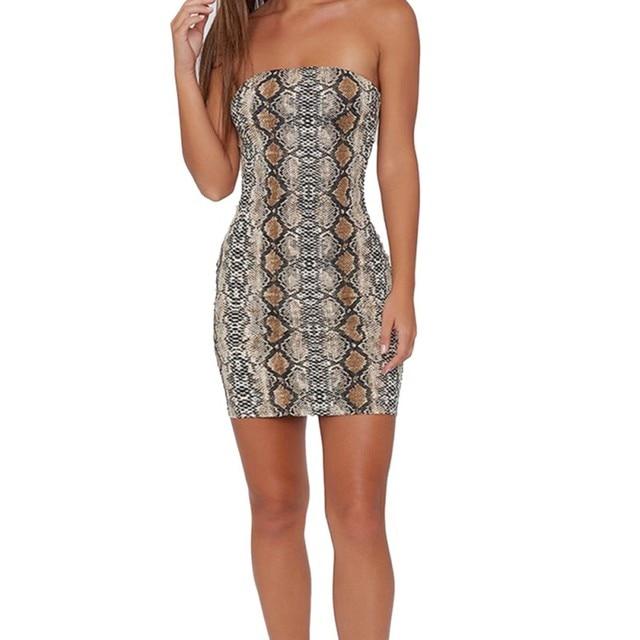 Vestidos Mujer Color sólido Sexy verano pitón serpiente raya delgado tubo vestido nueva llegada gran venta