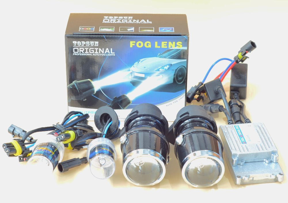 ФОТО GZTOPHID HID Xenon Fog Lamp Retrofit Projector Lens fog lens with H3 3000K gold light hid KIT Universal for all cars