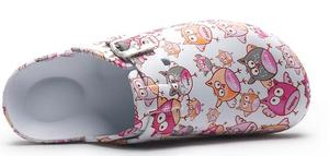 Image 5 - Evaプリントスリッパ調節可能な看護婦フラット底の動作靴ソフト底ガーデンライト快適なノンスリップクリーン靴