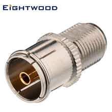 Eightwood 5PCS F to DVB-T RF Coaxial Adapter F Jack Female to DVB-T Jack Female RF Connector for TV-Tuner Antenna Aerial Nickel