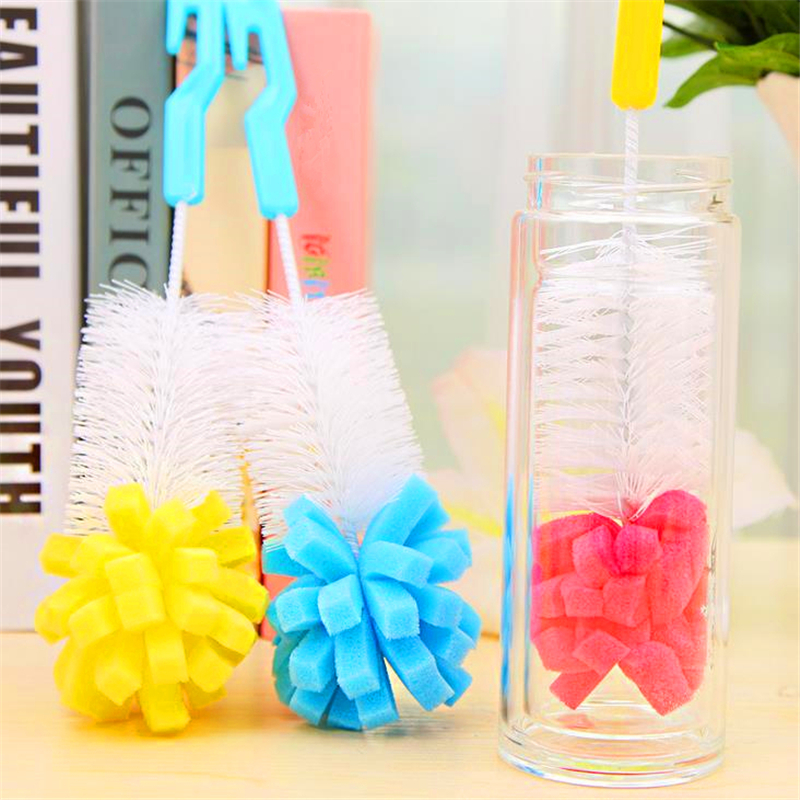 DoreenBeads Random Color Practical Cleaning Brushes Sponge Plastic Handle Kitchen Cups Dishes Household Cleaning 25x5cm, 1 PC