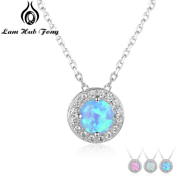 925 Sterling Silver Round Pink White Blue Opal Pendant Necklaces Cubic Zirconia