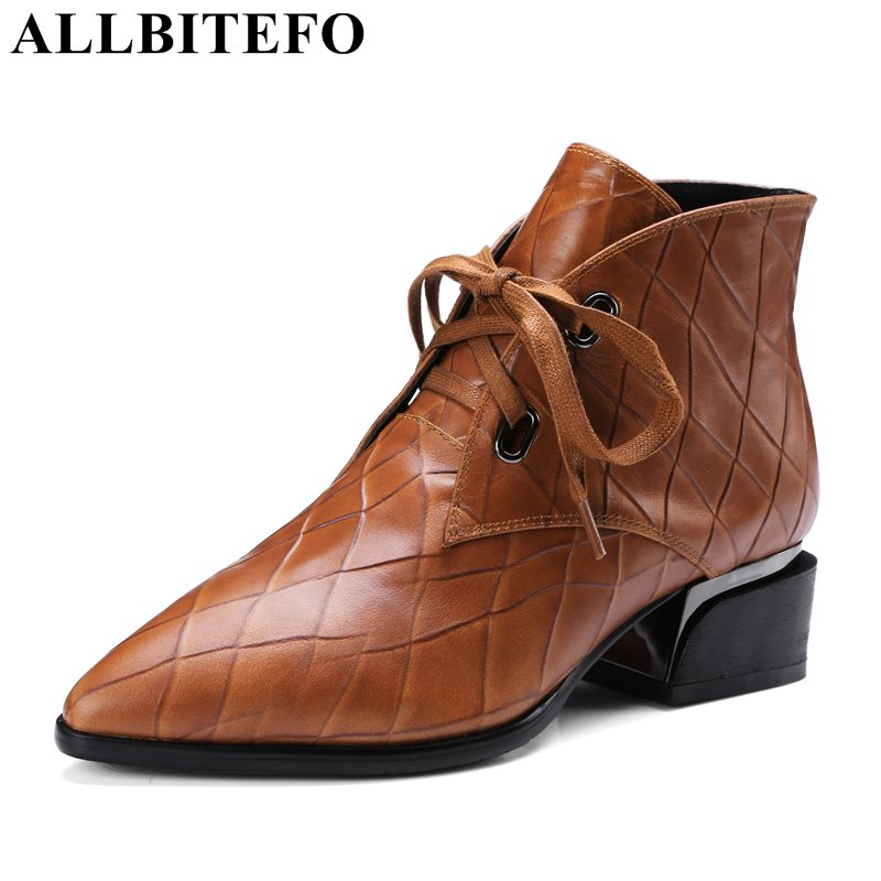 ALLBITEFO fashion Embossed leather pointed toe thick heel women boots medium heel martin boots girls boots large size:34-42  allbitefo genuine leather pointed toe thick heel women boots fashion buckle medium heel martin boots ankle boots for woman