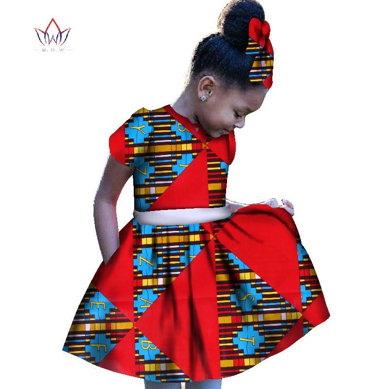 2019 africain femmes vêtements enfants dashiki traditionnel coton robes correspondant afrique imprimer fille robe été coton BRW WY1201