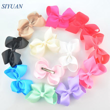 20pcs/lot Retail 4.5 inch Fashion Grosgrain Ribbon Hair Bow Knot Hair Clip Girl Daily Headwear 30 Color for U Pick On Sale H0265