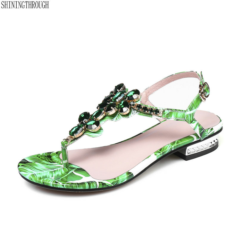 New Bohemia style women sandals genuine leather low heel shoes woman green crystal summer beath flop