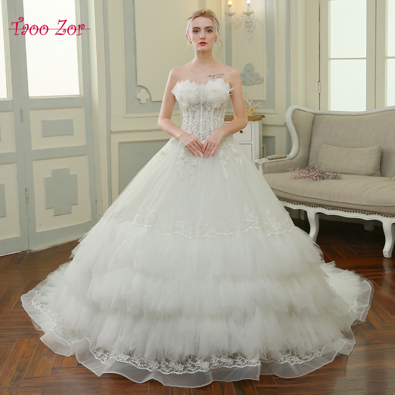 Rivini Lace Tiered Wedding Gown: TaooZor Noble Bridal Ball Gown Wedding Dresses Tiered