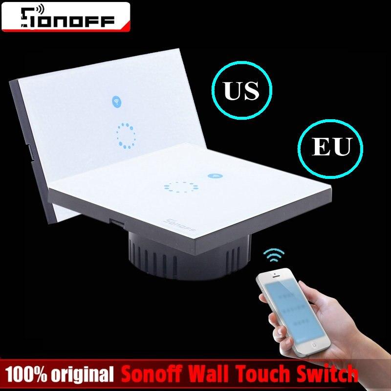 Sonoff Tactile US EU Plug Mur Wifi LED Interrupteur de Lumière En Verre panneau Tactile Minuterie Interrupteur pour La Maison Intelligente Sans Fil Interrupteur À Distance Contrôle
