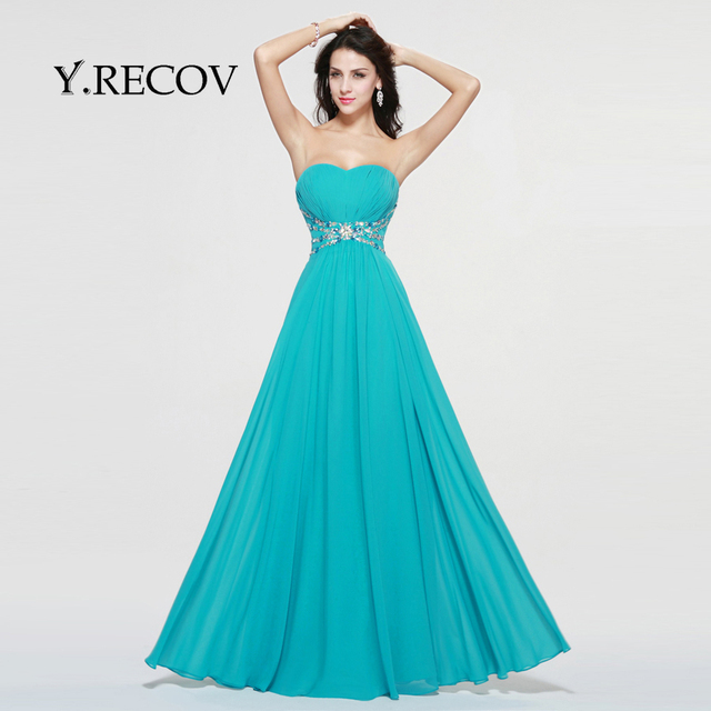 Graduation Prom Dress YD2353 A line Sweetheart Jade Chiffon Simple ...