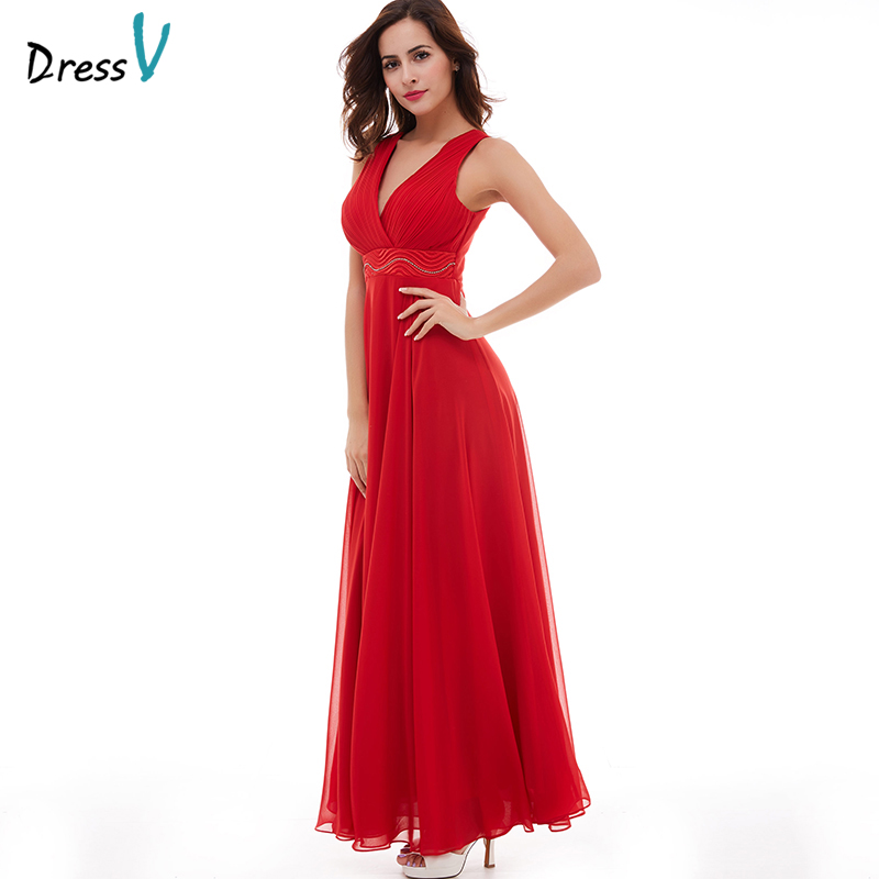 eddb168119d14 US $68.58 |Dressv red evening dress cheap v neck floor length sleeveless a  line beading wedding party formal dress ruched evening dresses-in Evening  ...