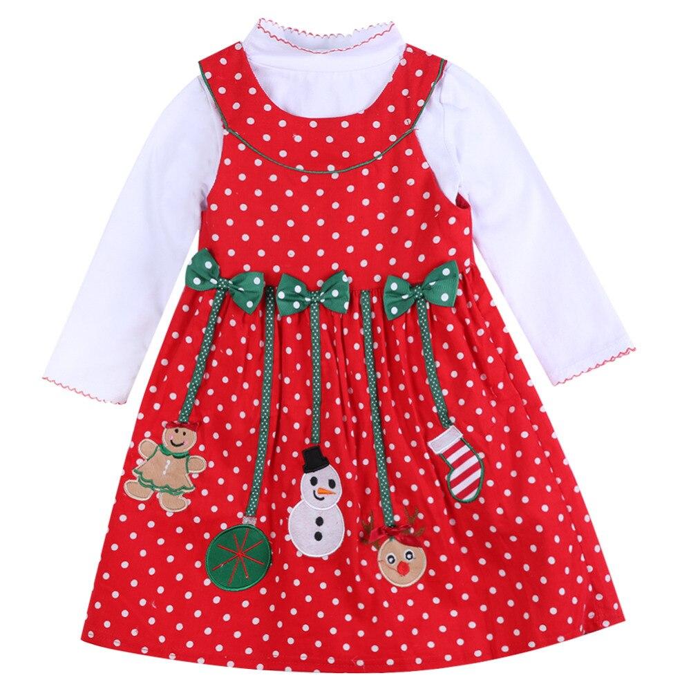 2018 herbst Winter Für Mädchen Weihnachten Neue Jahr Kleidung Kid Langarm Weihnachten Mann Dot Kleid kinder 2 stücke kleidung Sets