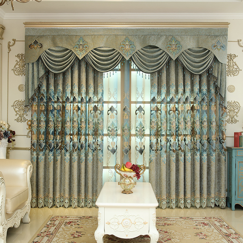 Luxurious Chenille Cloth Half Shading Curtains Jacquard Tulle For living Room Bedroom Kitchen Embroidered Curtains Custom Made in Curtains from Home Garden