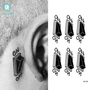 Rocooart HC1059 3d Switch Button Design Temporary Tattoo Sticker Waterproof Fake Tattoo Sticker Ears Personalized Stereoscopic