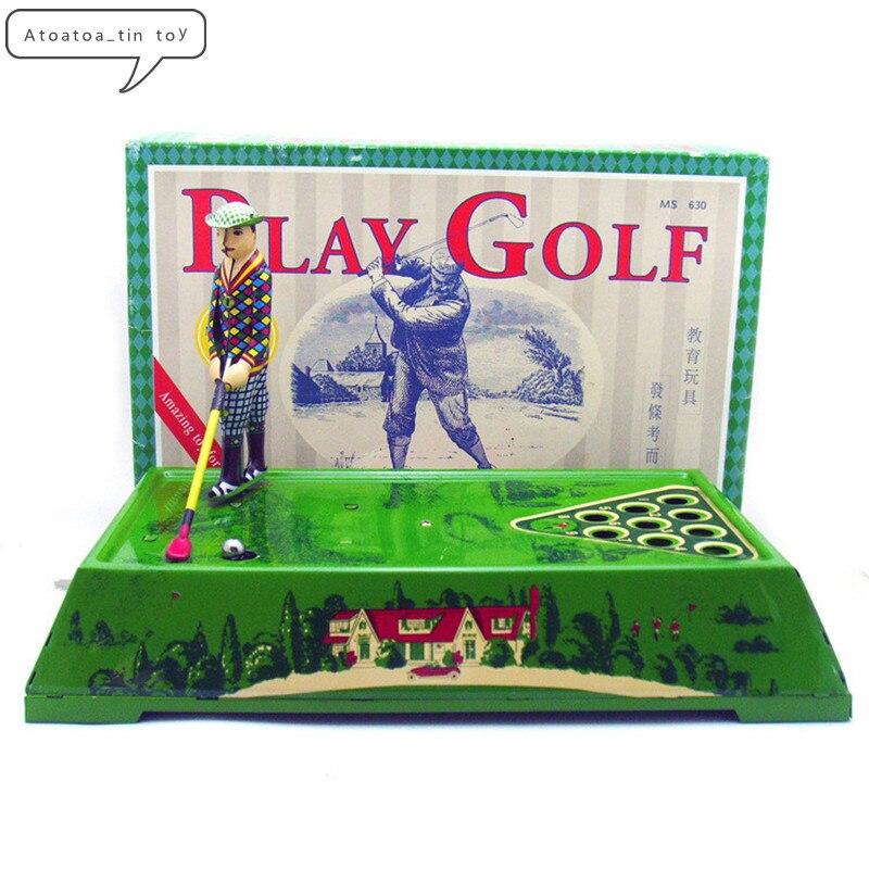 Vintage jouer golf étain jouets classique horloge liquidation Sport étain jouet pour adulte enfants à collectionner cadeau