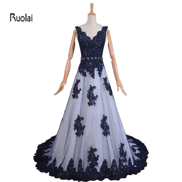 6e6c3027ac1 Dark Navy Blue Lace Applique Beading Belt V Neck A Line Sweep Train Formal  Long Evening Dresses For Wedding Party