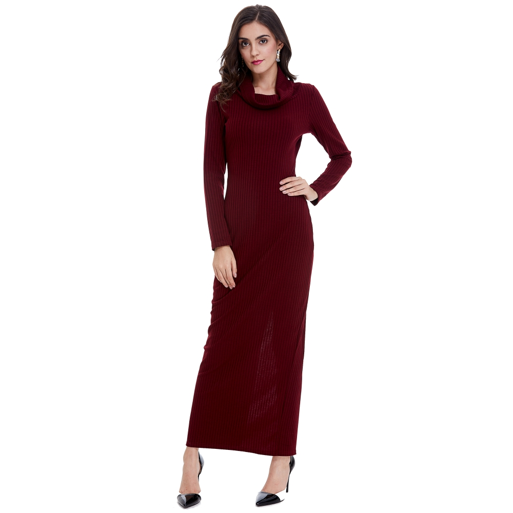 FD3562 Lady Fashion Heap Collar Knitted Tunic Dress Wine Color Long Sleeve Stripes Weaved Ankle Length Casual Long Dress